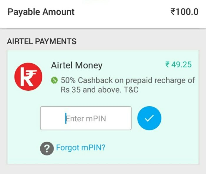 My Airtel App Offer Get 50%
